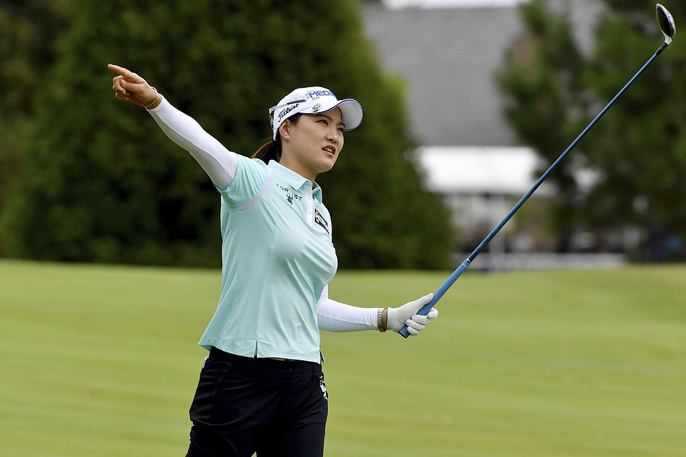 So Yeon Ryu of South Korea reacts to her stroke on the 18th fairway during the first round of the LPGA Walmart NW Arkansas Championship golf tournament on Friday, September 24, 2021 in Rogers, Ark.  (AP Photo / Michael Woods)