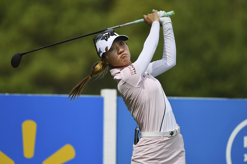 New Zealand's Lydia Ko watches as she pulls off the 13th tee during the first round of the LPGA Walmart NW Arkansas Championship golf tournament on Friday, September 24, 2021 in Rogers, Arkansas (AP Photo / Michael Woods)