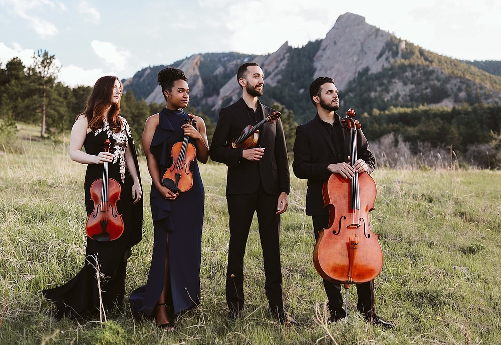 The Ivalas Quartet — (from left) Aimee McAnulty, viola; Tiani Butts and Reuben Kebede, violins; and Pedro Sanchez, cello — are in residence today and Friday at the University of Central Arkansas in Conway. (Special to the Democrat-Gazette)