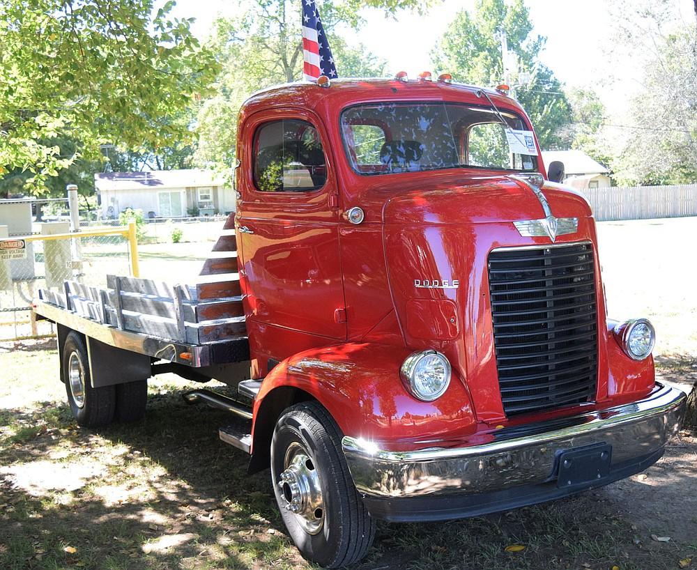 Westside Eagle Observer/MIKE ECKELS  A 1947 Dodge Cab-over truck that was once used as a semi-trsctor in the late 40's and early 50's was on display during the 2021 Vetarans Park Car Show in Decatur Sept.25.