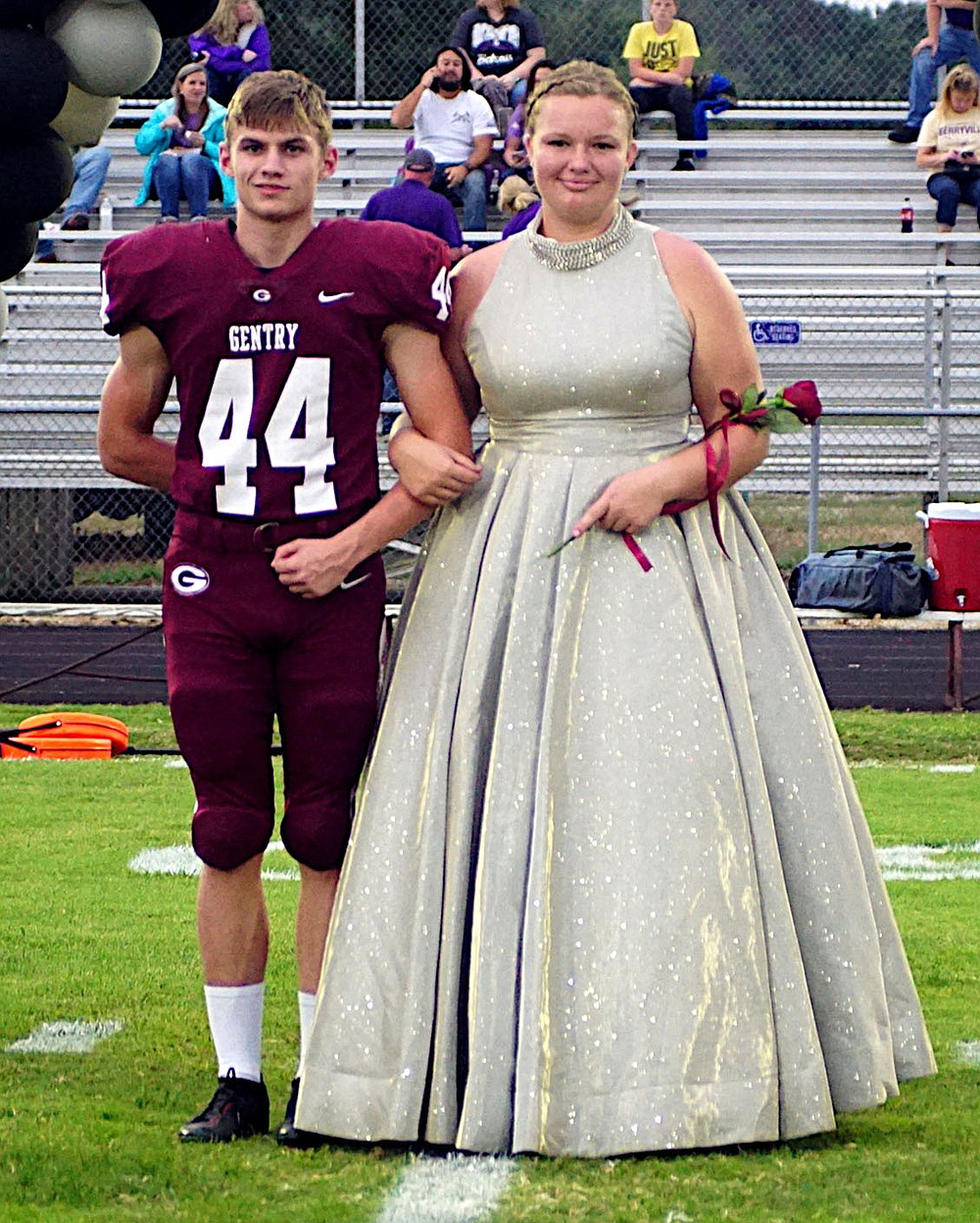Westside Eagle Observer/RANDY MOLL Junior class maid Kimberly Caswell escorted by junior Lucas Miller.