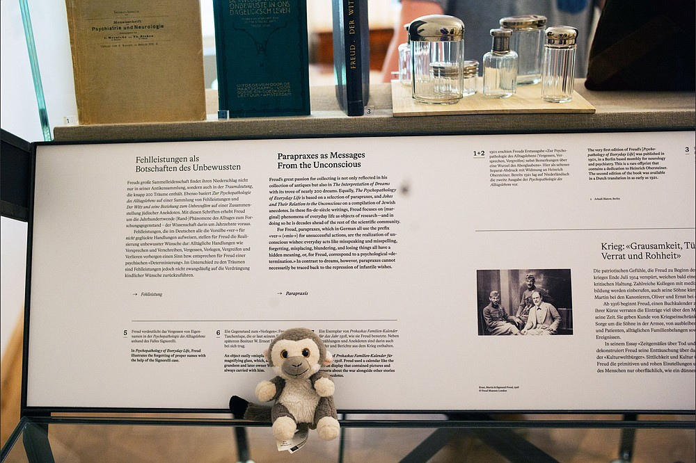 Sigmund, a well-traveled comfort monkey, perches in the museum of the home of his namesake Sigmund Freud. (Alan Behr/TNS)