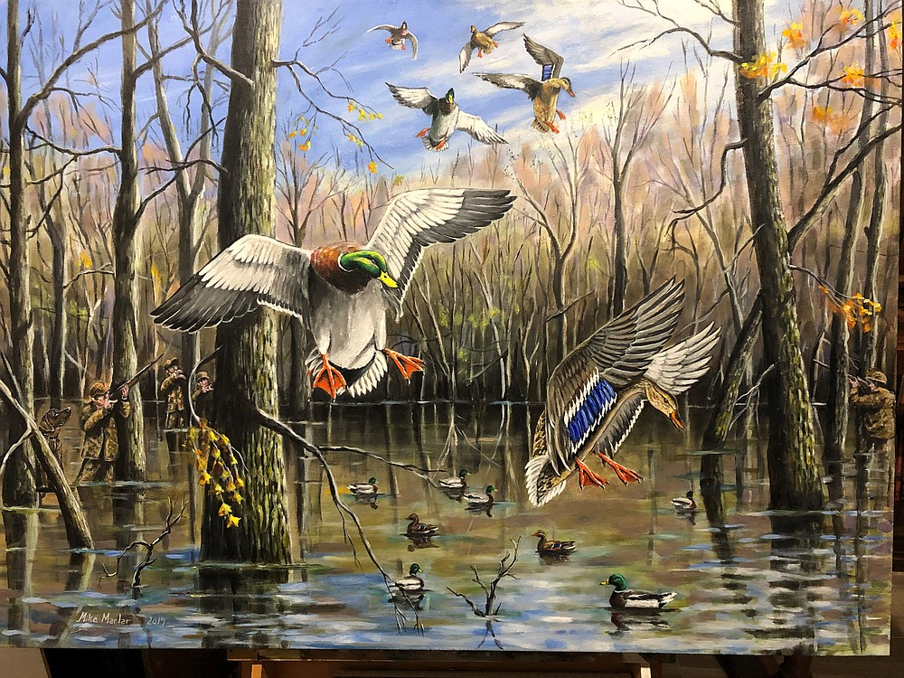 Mallards land in flooded timber in a painting by Mike Marlar. - Submitted photo