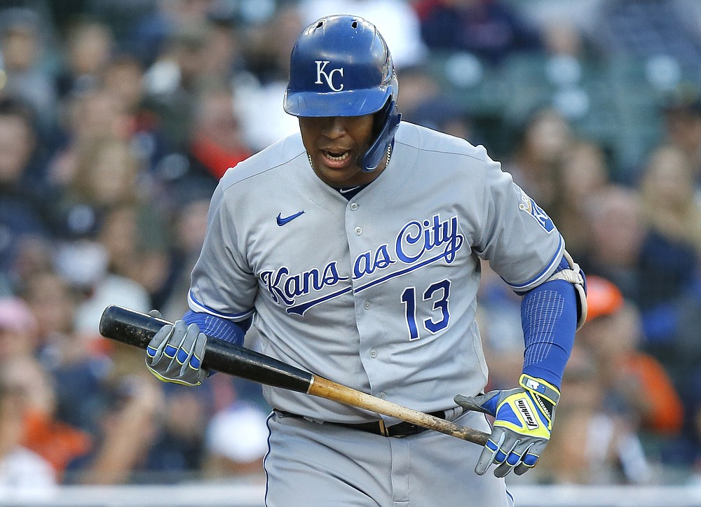 Kansas City Royals Salvador Perez (13) reacts after striking out in the first inning of a baseball game against the Detroit Tigers on Saturday, September 25, 2021, in Detroit.  (AP Photo / Duane Burleson)