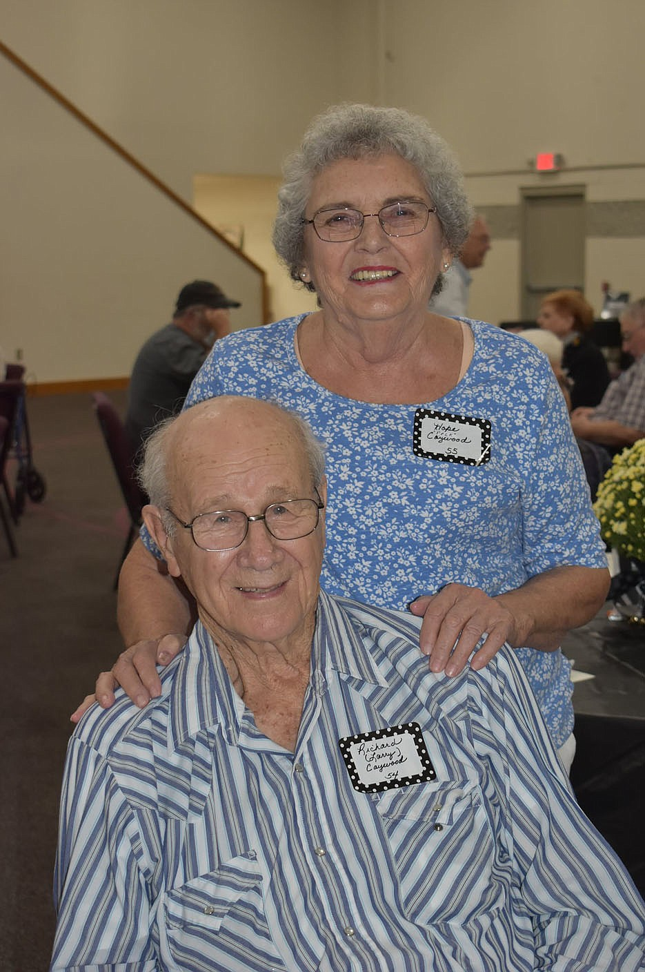 PHOTO BY DALANA FULLER. Photo of Hope and Larry Caywood. Many couples socialized with their previous classmates at the reunion.