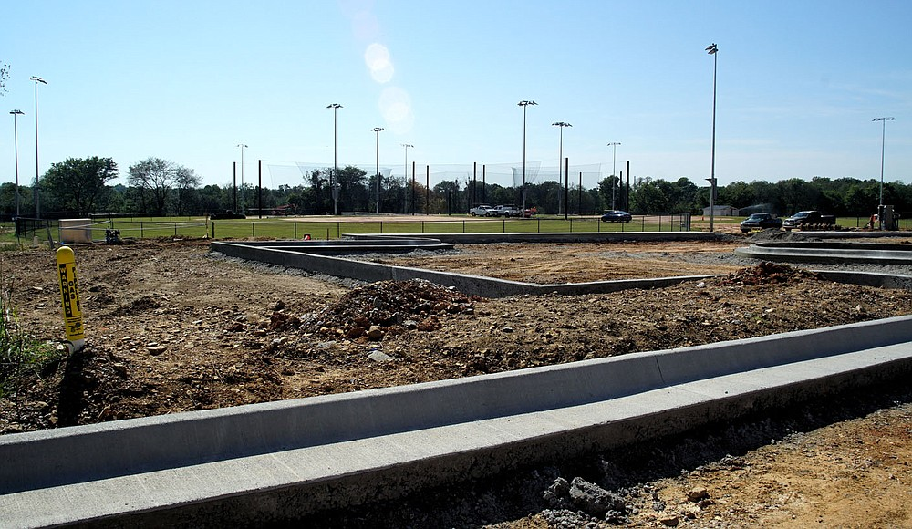 Westside Eagle Observer/RANDY MOLL Much progress is being made at the new sports complex on the north side of Gentry, with ball fields being completed and work ongoing in the parking areas.