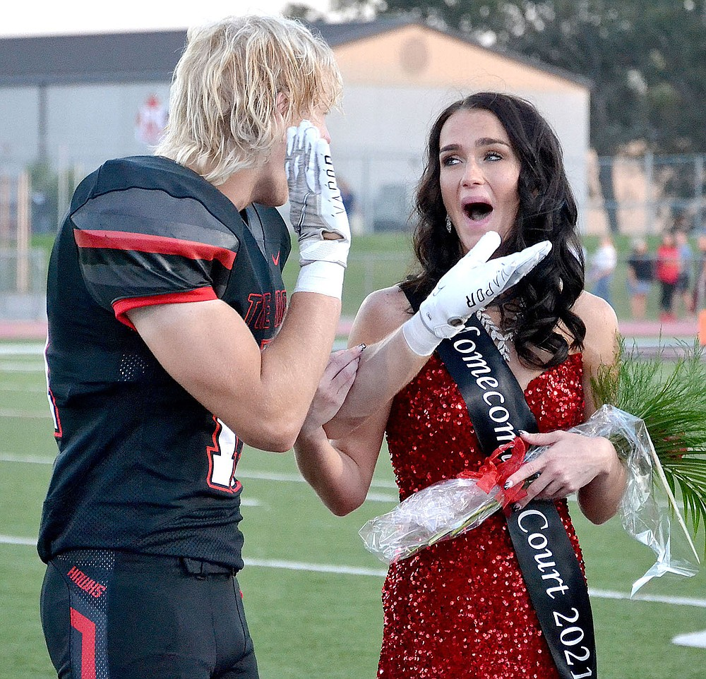 Football senior wide receiver Will Anderson applauded at the announcement that Paige Brown was named Homecoming Queen 2021.Brown is the daughter of Adam and Aimee Yager.