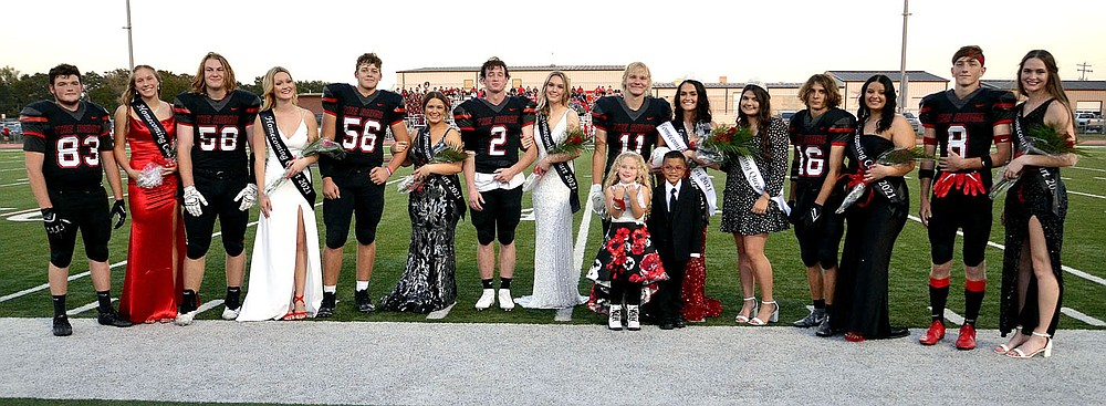 The Blackhawk Homecoming court 2021 was comprised of Justin Blount and Dallice White, Clay Sebree and Gabbie Fletcher, Braidon McCarley and Nalea Holliday, Joe Adams and Lillian Murray, Will Anderson and Paige Brown, Gracie Easterling, Caleb Neil and Masie Foltz, and Trevor Blair and Lauren Wright. Attendants Jackson Marquez and Lila Spivey were attendants.