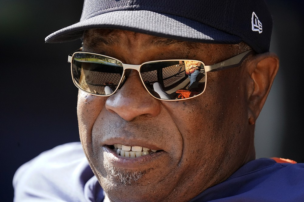 Houston Astros manager Dusty Baker Jr., talks to media members during baseball practice for the American League Division Series, Saturday, Oct. 9, 2021, in Chicago. The Chicago White Sox host the Astros in Game 3 on Sunday. (AP Photo/Nam Y. Huh)