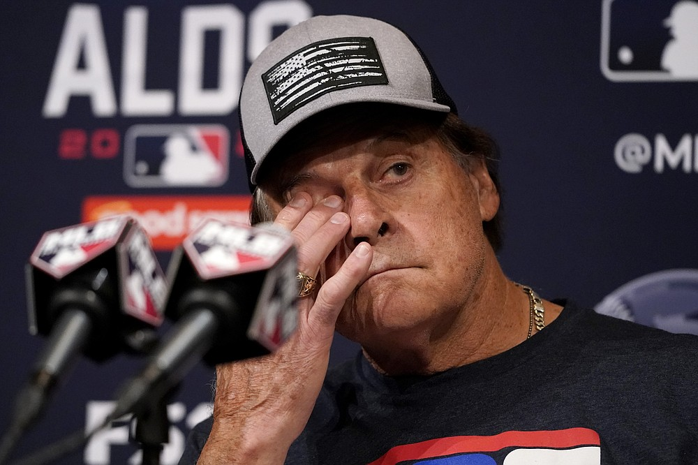 Chicago White Sox manager Tony La Russa listens to reporters' questions at a news conference during a baseball workout for the American League Divisions Series, Saturday, Oct. 9, 2021, in Chicago. The White Sox host the Houston Astros in Game 3 on Sunday. (AP Photo/Nam Y. Huh)