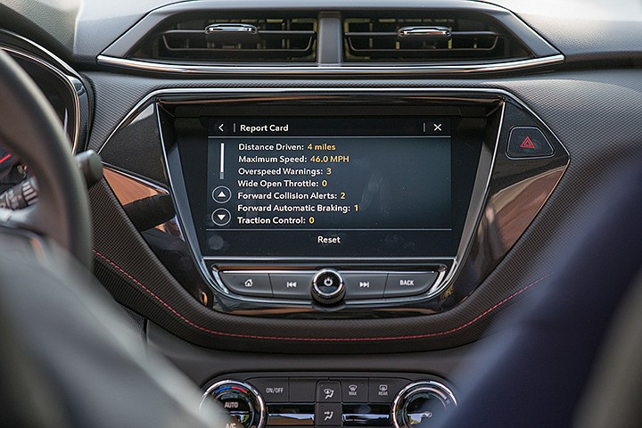 Teen Driver is a built-in system with an industry-first report card that lets parents view the performance of their young driver after they have driven the vehicle. Distance driven, maximum speed reached and number of times active safety features were engaged are among parameters that can be reported. (Chevrolet)