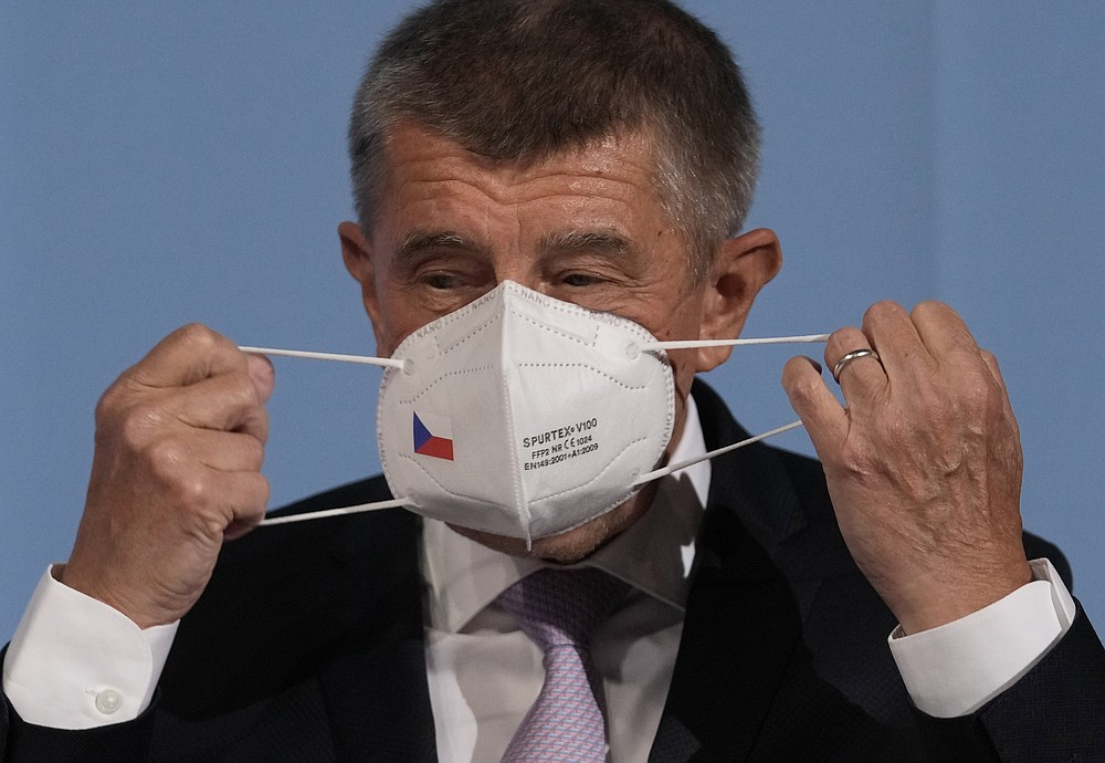 Czech Republic's Prime Minister and leader of centrist ANO (YES) movement Andrej Babis prepares for the last debates at the public radio before the poll stations open for the parliamentary election in Prague, Czech Republic, Friday, Oct. 8, 2021. Czechs begin voting in a parliamentary election with polls showing Prime Minister Andrej Babis, a populist billionaire, has a good chance of keeping his job, despite a new scandal over his financial dealings. (AP Photo/Petr David Josek)