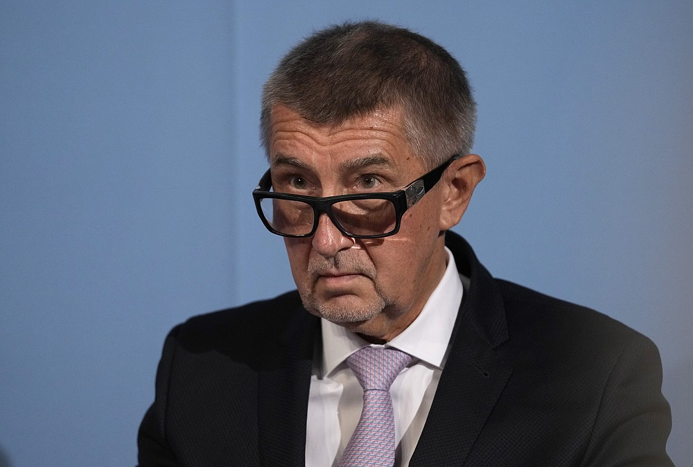 Czech Republic's Prime Minister and leader of centrist ANO (YES) movement Andrej Babis attends the last debates at the public radio before the poll stations open for the parliamentary election in Prague, Czech Republic, Friday, Oct. 8, 2021. Czechs begin voting in a parliamentary election with polls showing Prime Minister Andrej Babis, a populist billionaire, has a good chance of keeping his job, despite a new scandal over his financial dealings. (AP Photo/Petr David Josek)
