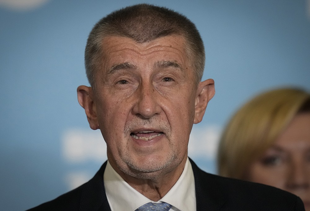 Czech Republic's Prime Minister and leader of centrist ANO (YES) movement Andrej Babis addresses the media after most of the votes were counted in the parliamentary elections, Prague, Czech Republic, Saturday, Oct. 9, 2021. Prime Minister Andrej Babis's centrist party has narrowly lost the Czech Republic's parliamentary election, a surprise development that could mean the end of the populist billionaire's reign in power. With the votes from 99.7% of the ballot stations counted, the Czech Statistics Office said Together, a liberal-conservative three-party coalition, captured 27.7% of the vote, beating Babis's ANO (Yes) party, which won 27.2%. (AP Photo/Petr David Josek)