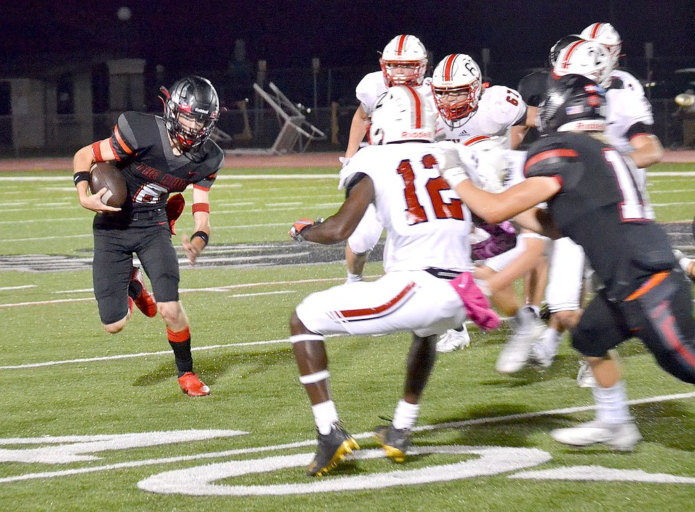 Senior Trevor Blair, No. 8, ran a quarterback keeper in the latter part of the game Friday, Oct. 8, against Vilonia. The Vilonia Eagles won the contest 35-0.