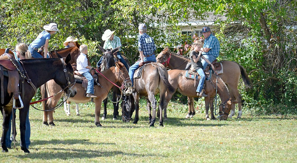 When not in the arena, mules and their riders waited and visited.