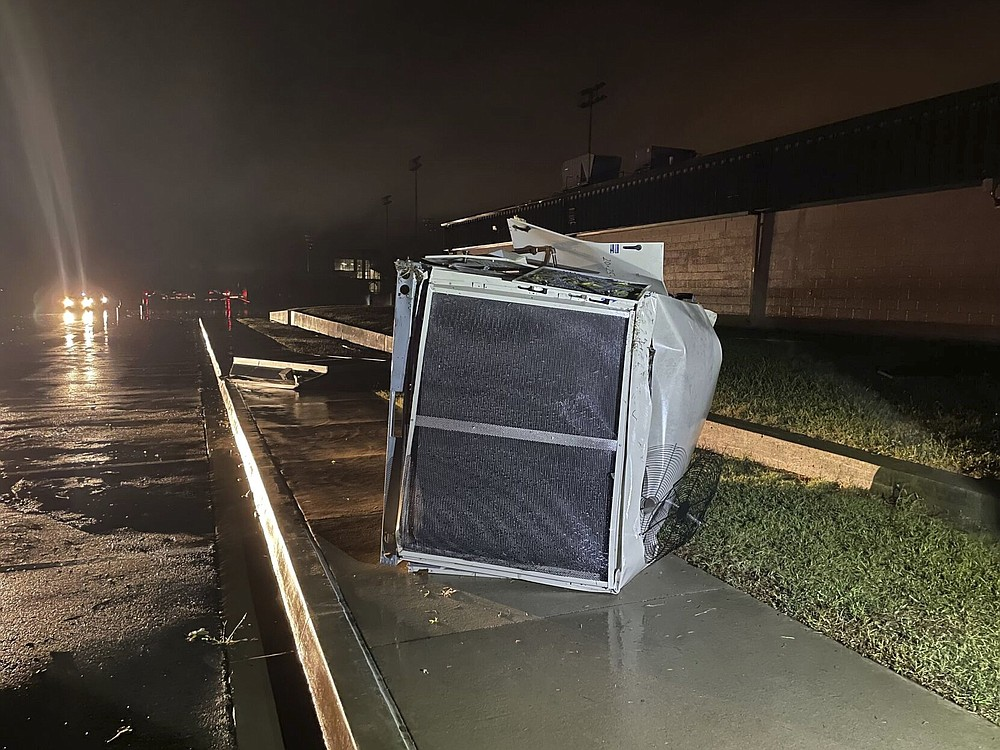 Many spots in Coweta, Okla. took a direct hit from a storm, Sunday, Oct. 10, 2021, including the HS baseball field. Several reported tornadoes have ripped through Oklahoma, causing damage late Sunday into early Monday morning. (Justin Ayer/Tulsa World via AP)