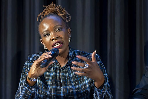 Nanjira Sambuli, Policy Analyst and Advocacy Strategist, Kenya, speaks about the first Geneva Science and Diplomacy Anticipation Summit 2021 (GESDA), during a press conference at the Campus Biotech in Geneva, Switzerland, Thursday, October 07, 2021. (Martial Trezzini/Keystone via AP)