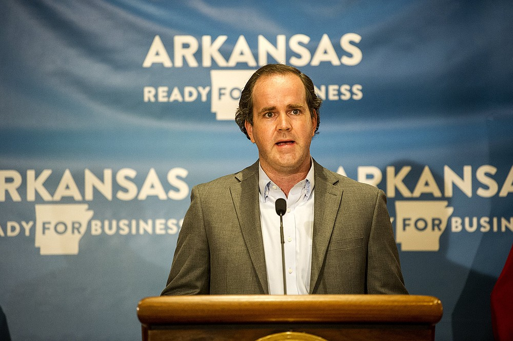 John Wilkerson, General Counsel for the Arkansas Municipal League, addresses the media during an update by the governor on Arkansas' response to COVID-19 on Friday, July 3, 2020. See more photos at arkansasonline.com/74gov/   (Arkansas Democrat-Gazette / Stephen Swofford)