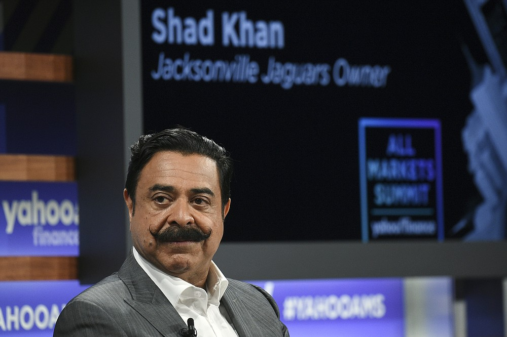 FILE - In this Oct. 10, 2019, file photo, Jacksonville Jaguars owner Shad Khan participates in the Yahoo Finance All Markets Summit at Union West in New York. Current or former players, along with people in positions of leadership with NFL clubs, have offered differing opinions this week on how pervasive the sorts of racist, homophobic and misogynistic thoughts expressed by Jon Gruden -- in emails he wrote from 2011-18, when he was an ESPN analyst between coaching jobs, to then-Washington club executive Bruce Allen – remain around the sport to this day. (Photo by Evan Agostini/Invision/AP, File)