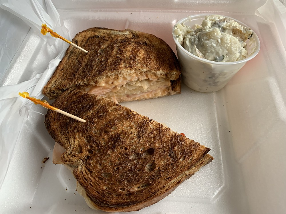 Corned beef is too expensive at the moment, so the Capitol Bistro, on Capitol Avenue a block from the state Capitol, is making Reubens with turkey instead. A pleasant potato salad is a side option. (Arkansas Democrat-Gazette/Eric E. Harrison)